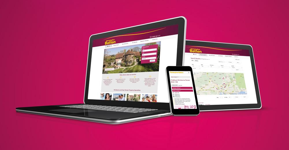 New mobile friendly website for Christopher Batten estate agents in Wimborne, Dorset