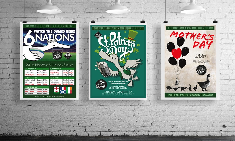 Posters designed for 'The Duck' bar and restaurant